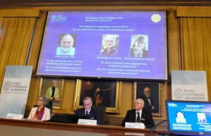 Nobel committee members announces the The 2018 Nobel Prize for Physics award