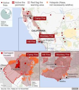 Active fire's map in California