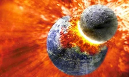 This is how life on earth could have started. Planet Theia collided with Earth 4,500 million years ago.
